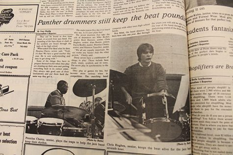 Issue of 1985 Panther Tales over the drummers in GBHS
