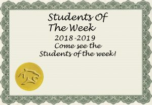 2018-19 Students of the Week