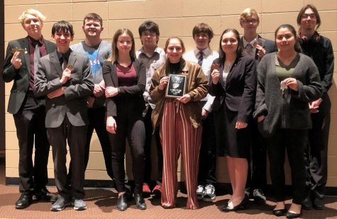 Picture #1 – Sterling 3rd Place Sweepstakes team – Back row:  Patrick Heath, Hayden Honomichl, Bryce Hopkins, Dalton Ruble, Isaiah Smith, and Thain Bowman.  Front row: Malachi Wasson, Adeline Dougherty, Katria Kindscher, Bayle Sandy, and Kenia Balderrama