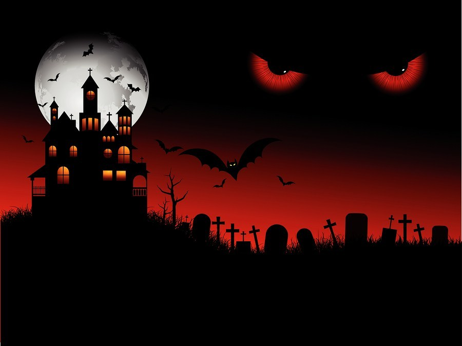Background+of+a+spooky+Halloween+house+with+evil+eyes+in+the+sky