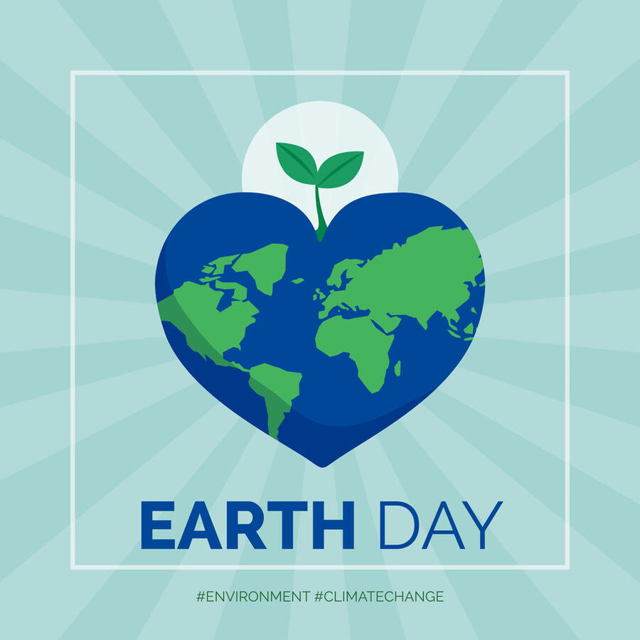 Earth day and environmental protection social media post and card, heart shaped earth with sprout